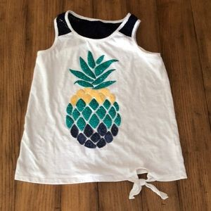 Justice pineapple sequin tank like new